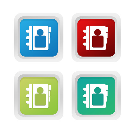 squared: Set of squared colorful buttons with address book symbol in blue green and red colors
