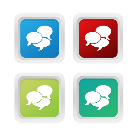 squared: Set of squared colorful buttons with bubble speeches symbol in blue green and red colors Stock Photo