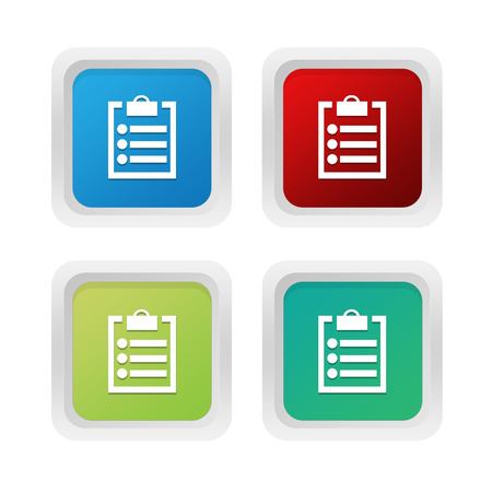squared: Set of squared colorful buttons with notepad symbol in blue green and red colors Stock Photo