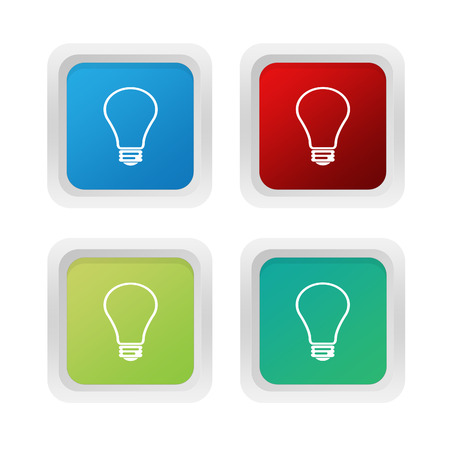 purchasing power: Set of squared colorful buttons with bulb symbol in blue green and red colors Stock Photo