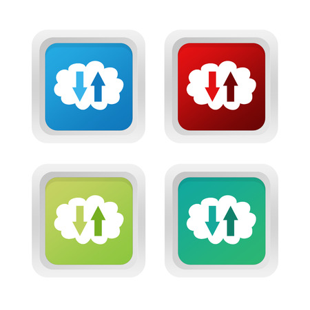 squared: Set of squared colorful buttons with cloud symbol in blue green and red colors Stock Photo