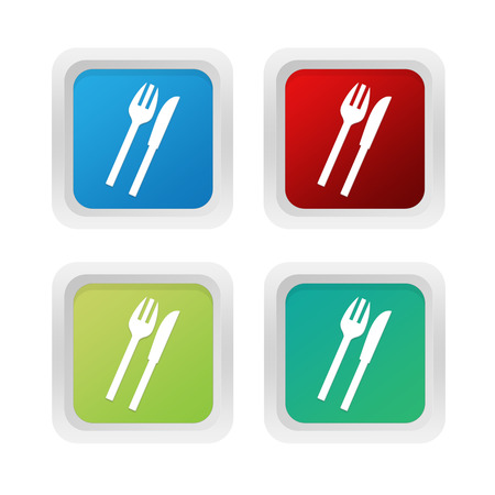 squared: Set of squared colorful buttons with restaurant symbol in blue green and red colors