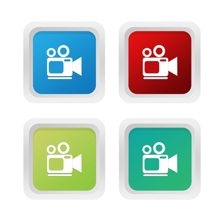 squared: Set of squared colorful buttons with camcorder symbol in blue red and green colors Stock Photo