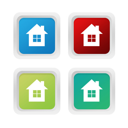 advising: Set of squared colorful buttons with house symbol in blue red and green colors