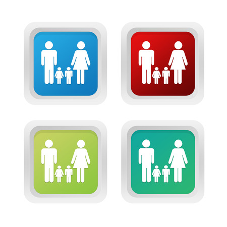 squared: Set of squared colorful buttons with family symbol in blue red and green colors Stock Photo
