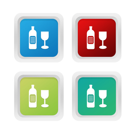 shopping champagne: Set of squared colorful buttons with drink symbol in blue red and green colors
