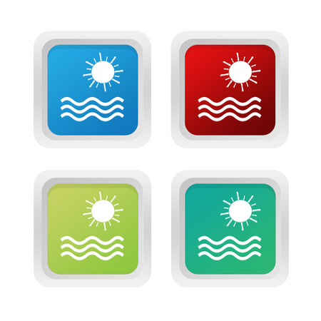squared: Set of squared colorful buttons with beach symbol in blue red and green colors Stock Photo