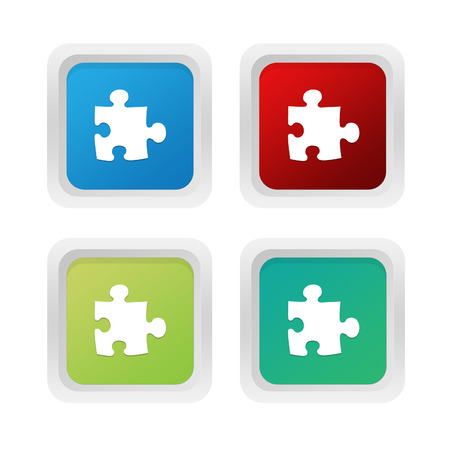squared: Set of squared colorful buttons with puzzle symbol in blue red and green colors