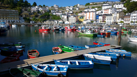 seaport: Landscape of the seaport of Luarca in Asturias, Spain