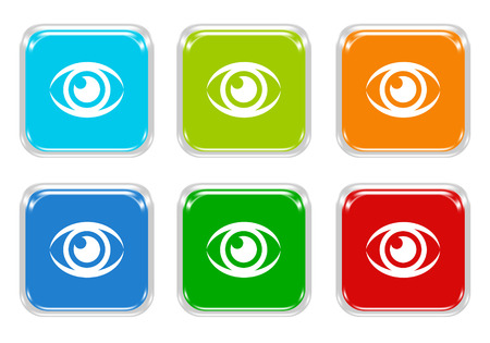 squared: Set of squared colorful buttons with eye symbol in blue, green, red and orange colors