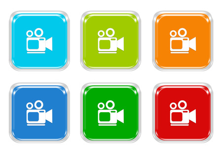 blue buttons: Set of squared colorful buttons with camcorder symbol in blue, green, red and orange colors