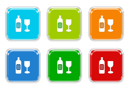 shopping champagne: Set of squared colorful buttons with drink symbol in blue, green, red and orange colors Stock Photo