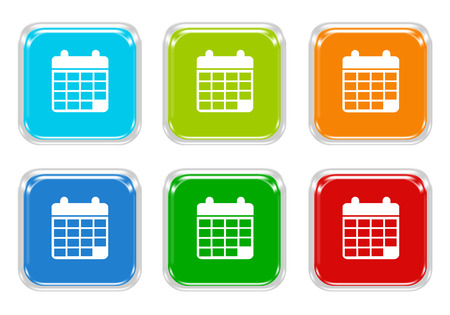 squared: Set of squared colorful buttons with calendar symbol in blue, green, red and orange colors