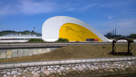 aviles: AVILES, SPAIN - JULY 6 View of Niemeyer Center building, in Aviles, Spain, on July 6, 2015. The cultural center was designed by Brazilian architect Oscar Niemeyer