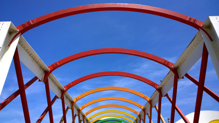 aviles: AVILES, SPAIN - JULY 6 View of bridge to access to Niemeyer Center building, in Aviles, Spain, on July 6, 2015. The cultural center was designed by Brazilian architect Oscar Niemeyer
