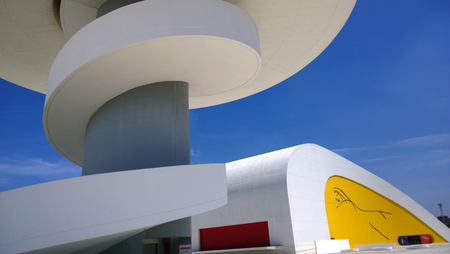 aviles: AVILES, SPAIN - JULY 6 View of Niemeyer Center building, in Aviles, Spain, on July 6, 2015. The cultural center was designed by Brazilian architect Oscar Niemeyer.