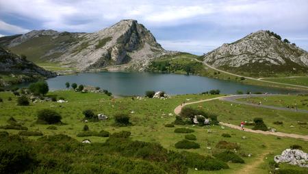 covadonga: Landscape in Lake Enol Lakes of Covadonga in Asturias, Spain