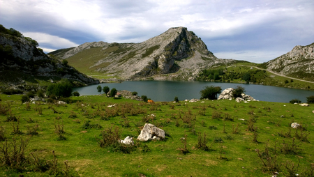 covadonga: View of Lake Enol Lakes of Covadonga in Asturias, Spain