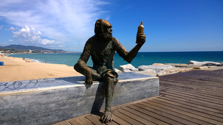 ruiz: BADALONA, SPAIN - SEPTEMBER 18 Monkey Sculpture in Badalona, Spain on September 18, 2015 Sculpture designed by Susana Ruiz and represents the monkey bottle label brand of Anis del Mono factory