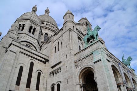 sacre: Basilique of Sacre Coeur in Montmartre, Paris Stock Photo