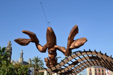 BARCELONA, SPAIN - OCTOBER 20: La Gamba monument on October 20, 2014 in Barcelona, Spain. It was designed by Javier Mariscal.