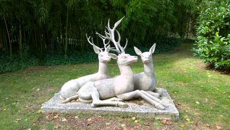 frederic: BARCELONA, SPAIN - SEPTEMBER 27: Deer sculpture at the Joan Maragall gardens in Barcelona, Spain on September 27, 2015. Sculpture designed by Frederic Mares.