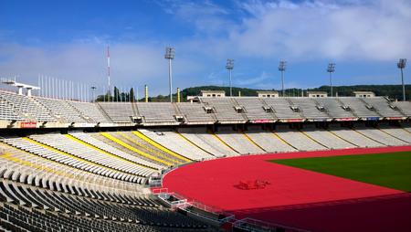 hosted: BARCELONA, SPAIN - OCTOBER 11: Olympic Stadium Lluis Companys in Barcelona, Spain on October 11, 2015. This stadium hosted the 1992 Summer Olympic Games. Editorial