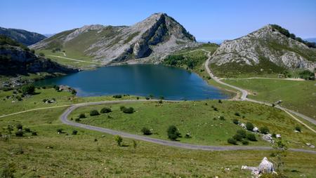 covadonga: View of Lake Enol at Lakes of Covadonga in Asturias, Spain