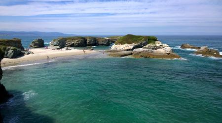 islas: View of the As Illas Beach (Playa de las Islas) in Ribadeo, Galicia - Spain Stock Photo