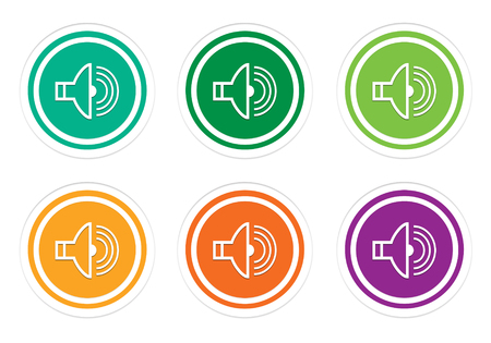 Set of rounded colorful icons with speaker symbol in green, yellow, orange and purple colors