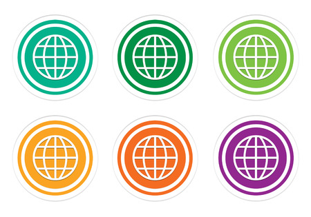 domains: Set of rounded colorful icons with world symbol in green, yellow, orange and purple colors