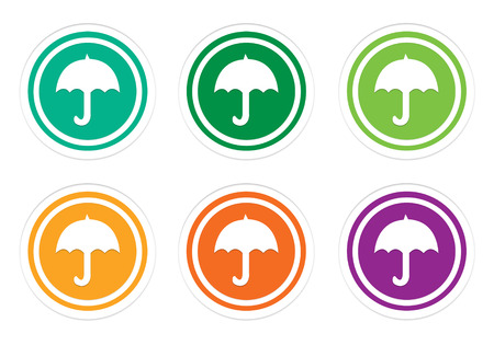 Colorful rounded icons with umbrella symbol in green, yellow, orange and purple colors
