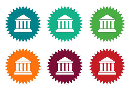 postgraduate: Set of colorful stickers icons with legal symbol in blue, green, orange, red and burgundy colors