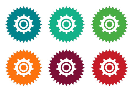 burgundy: Set of colorful stickers icons with gears symbol in blue, green, orange, red and burgundy colors