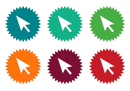 Set of colorful stickers icons with arrow or pointer symbol in blue, green, orange, red and burgundy colors