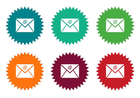 Set of colorful stickers icons with email symbol in blue, green, red, orange and burgundy colors
