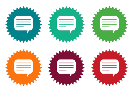 Set of colorful stickers icons with conversation symbol in green, red, orange and burgundy colors