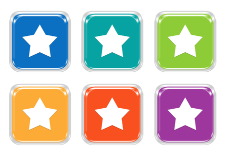 Set of squared colorful buttons with star symbol in blue, green, yellow, orange and purple colors