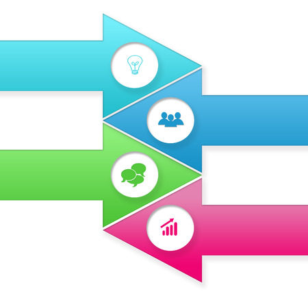 web portal: Set of arrow shaped buttons for Web page menu, marketing or presentations in blue, green and pink colors