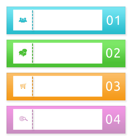 web portal: Colorful buttons for Web page menu, marketing or presentations in blue, green, orange and pink colors