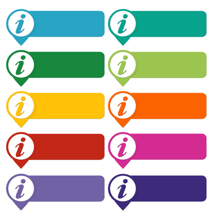 Set of colorful buttons for Web page menu, marketing or presentations with information symbol