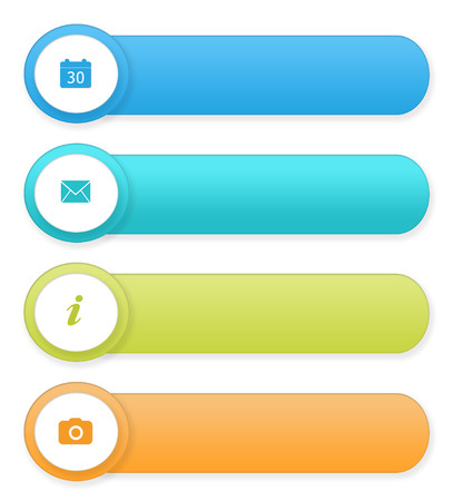 web portal: Set of colorful rounded buttons for Web page menu, marketing or presentations in blue, green and orange colors