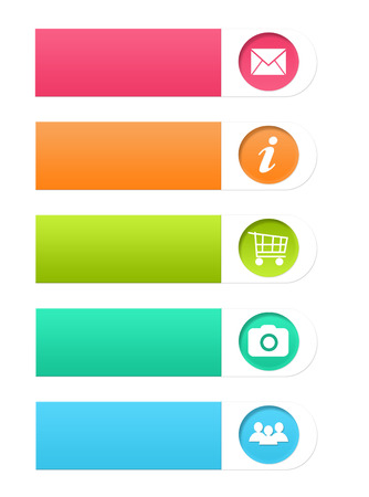 Set of colorful buttons for Web page menu, marketing or presentations in pink, orange, green and blue colors Stock Photo