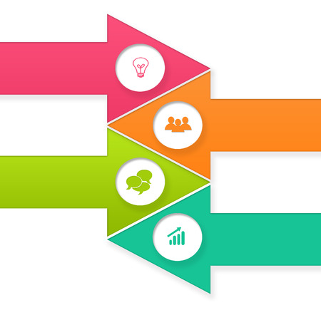 web portal: Set of arrow shaped buttons for Web page menu, marketing or presentations in pink, orange and green colors