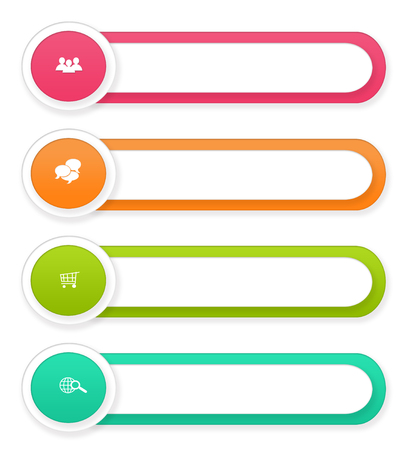 web portal: Set of colorful rounded buttons for Web page menu, marketing or presentations in pink, orange and green colors