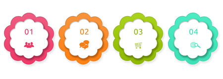Colorful rounded buttons for Web page menu, marketing or presentations in pink, orange and green colors Stock Photo