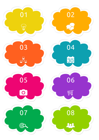 Colorful cloud shape buttons for Web page menu, marketing or presentations in yellow, orange, blue, pink, purple and green colors
