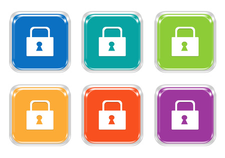 glassy: Set of squared colorful buttons with lock symbol in blue, green, yellow, orange and purple colors Stock Photo