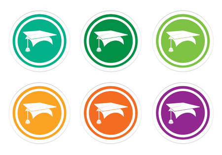 application university: Set of rounded colorful icons with graduation symbol in green, yellow, orange and purple colors Stock Photo