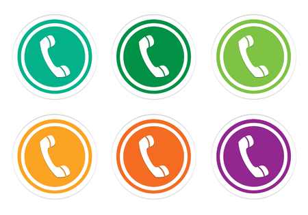 commerce and industry: Set of colorful rounded buttons with phone symbol in green, yellow, orange and purple colors Stock Photo